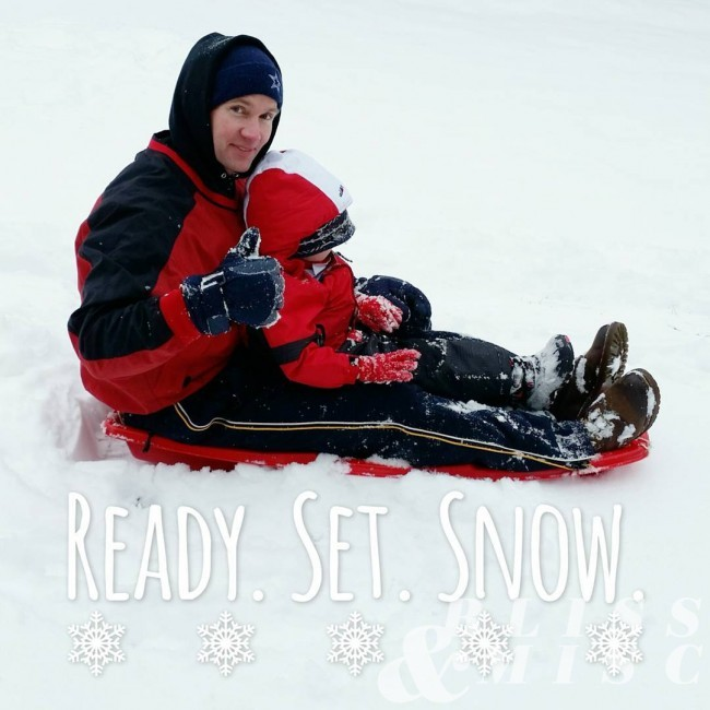 Evan went sleighing with Daddy snowday sledride