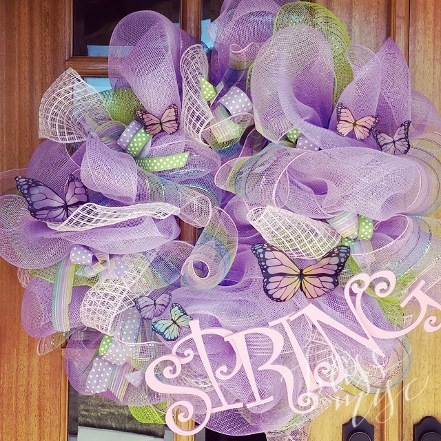 Ready for spring! Complete with my #DIY #butterfly #meshwreath #easter…