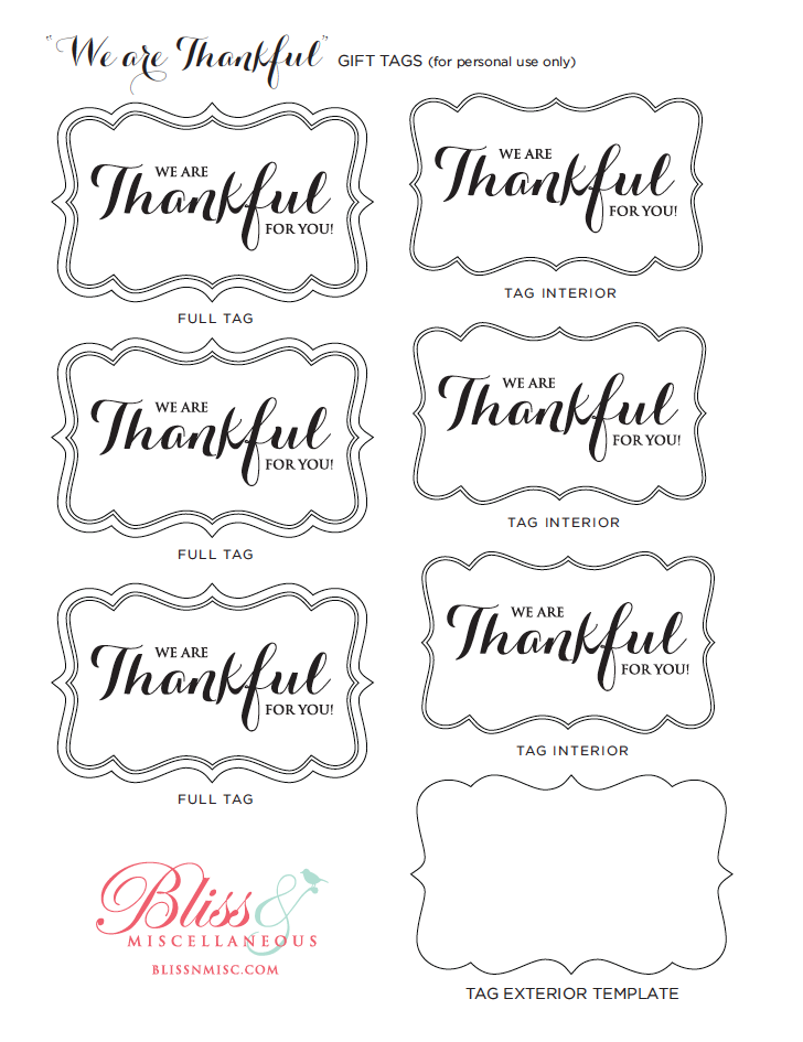 Happy Thanksgiving! (Free Printables) – Bliss & Miscellaneous