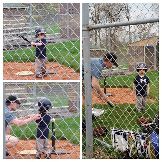 Got in a little #tball practice before the rain.