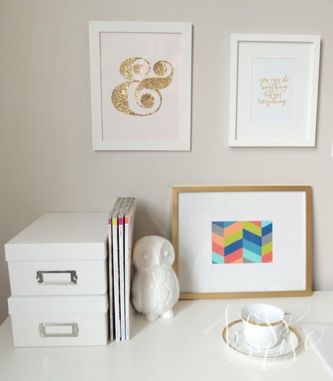 Herringbone Painting, White Owl, Gold Ampersand