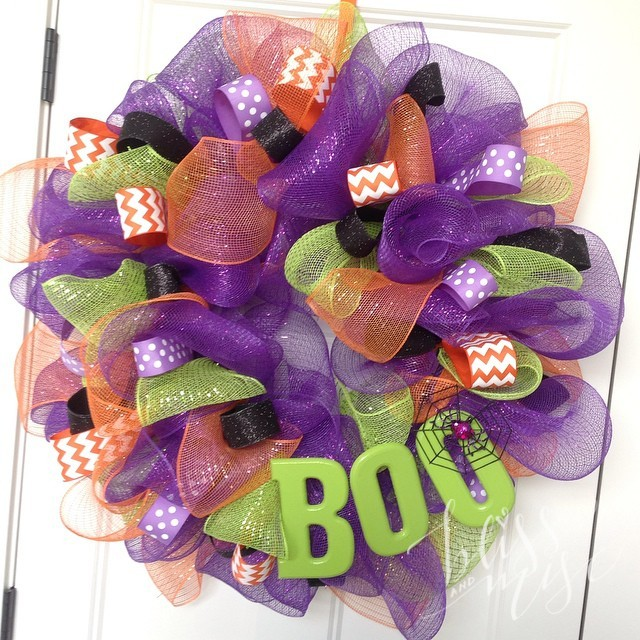 Halloween wreath finished! Not to shabby for having never made one before #makingitupasIgo #meshwreath #halloweendecor #gettingcrafty #boo