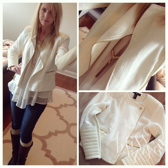 Loving this cream #motorcyclejacket from #hm #fall fashion #wiwt #creamandgold