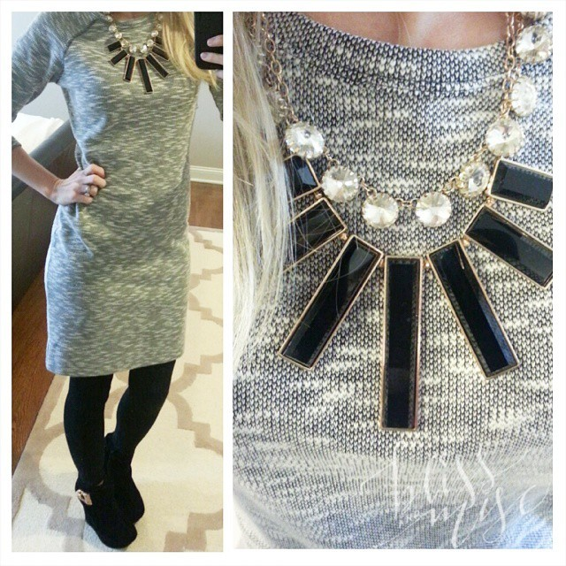 Totally pretending these leggings are tights...#wiwt #statementnecklace  #greyandblack #blackandgold #ankleboots