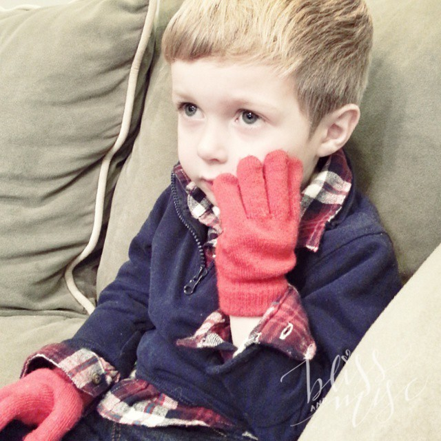 Someone must have heard we are getting cold weather this weekend...he refuses to take his gloves off. #polarvortex #stayingtoasty