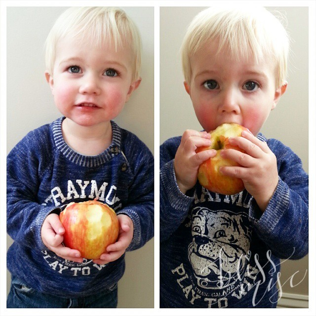 This kid loves a good apple #applecrisp #yum #deliciousfruit