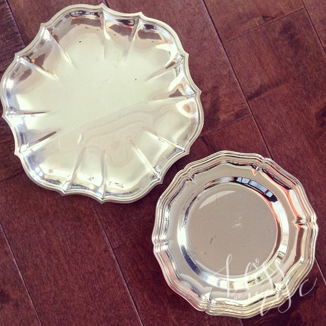 Fun thrifted plates...need to find a good spot for them. #goodwillfind #gooddeals #silverplates