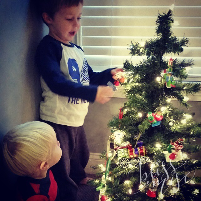 Telling his brother about the tree...