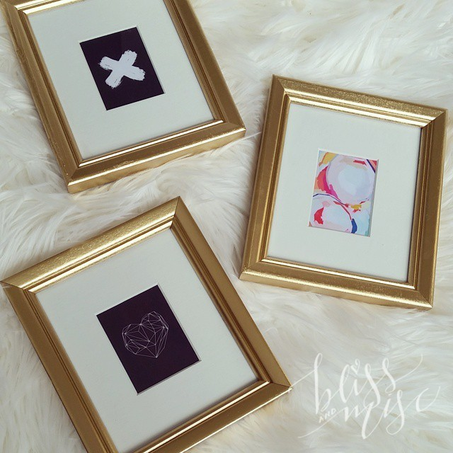 New art in old upcycled frames...ready to be hung in my closet. #blackandgold #mycloset #tinyprints #art
