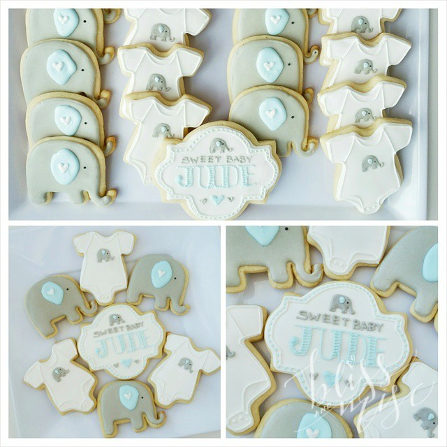 Baby shower cookies #babyshower #elephantcookies #cookiedecorating