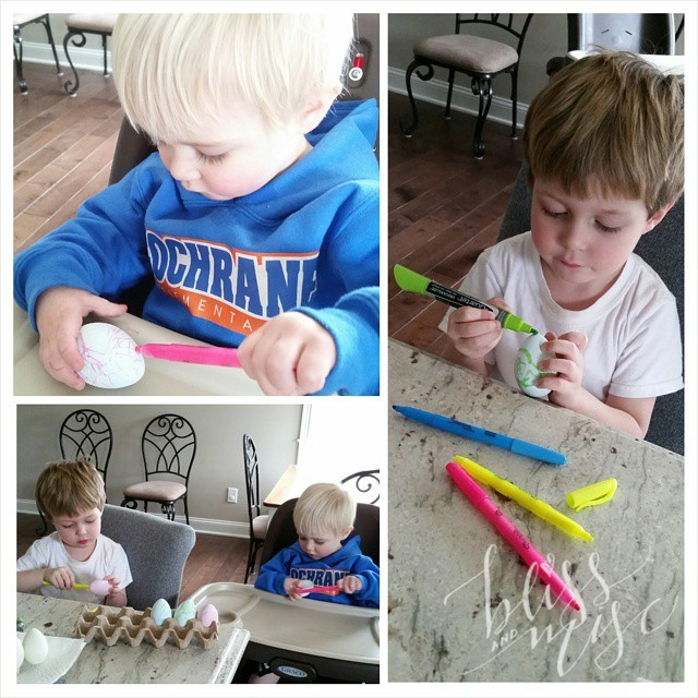Decided they needed more color and Noah even got to color some...yeah for fake eggs! #easter #eggdecorating