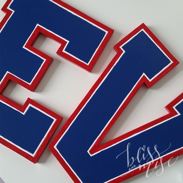 Working on some #varsity letters for E's new #sportstheme room…